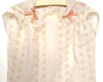 Leyla's top, Italian eyelet cotton, cream champagne shirt, Summer top. Ruffled short sleeve, Pink ribbon bow, 2 years, 92