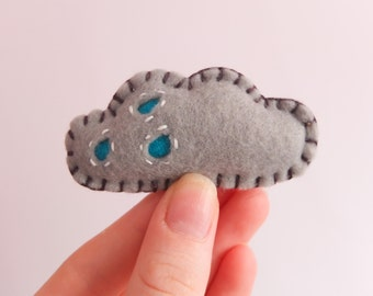 Felt Rain Cloud Brooch | Rain Cloud Brooch | Cloud Brooch | Felt Brooch | Rain Brooch | Grey Brooch | Weather Brooch