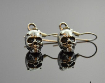 Earrings Horned Skulls Silver