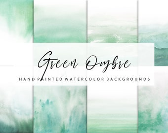 Ombre watercolor, green ombre, backgrounds, for personal and small commercial use