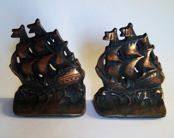 Cast Iron Bookends - Vintage Pair of Sailboat Bookends - Copper Overlay on Cast Iron Ship Bookends