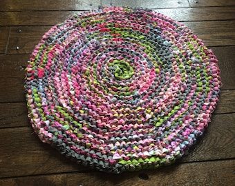 Pink, Gray and Green Rag Rug