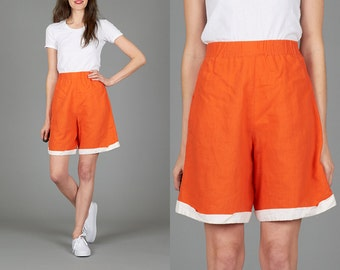 ON SALE Vintage 90s XS High Waisted Orange Shorts with White Trim