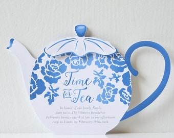 Floral Tea Party Invitation: Time for tea, birdal tea, baby shower, baby sprinkle, graduation celebration, for her, mother's day - LRD023P