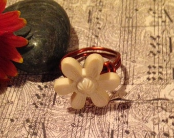 Vintage Flower Button Ring-Handmade Copper Wire Wrapped Ring size 7 1/2