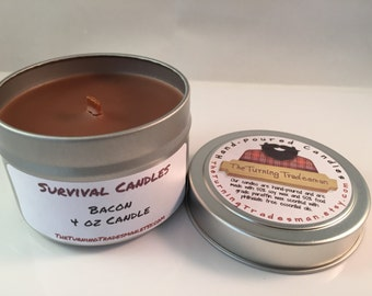Bacon Candle - Tin Candle - Wood Wick Candle - Soy Wax/Paraffin - Survival Candle - Manly Candle - Burly Candle - 4 oz Candle