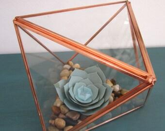Succulent Included! - Geometric Terrarium, Paper Flowers, Succulent Terrarium, Glass Planter,