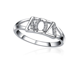 Lambda Omicron Delta Ring for Sweetheart, Sterling Silver (R001)