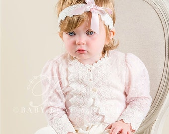 Amy Baby Sweater, Pink Baby Girl Sweater, Newborn Sweater