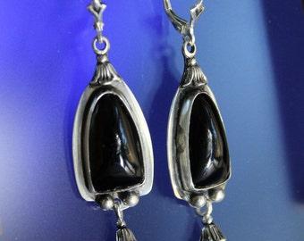 Black Onyx Earrings Handmade Sterling Silver