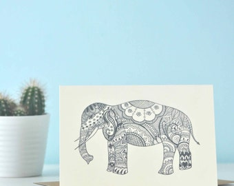 Just Elephant - eco friendly illustration greetings card - perfect for elephant lover, elephant gift, elephant art, animal lover, yoga card