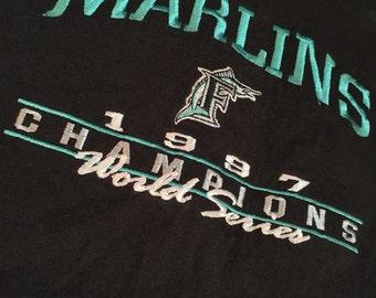 ON SALE!! Vintage Florida Marlins World Series Baseball T-Shirt Starter XL