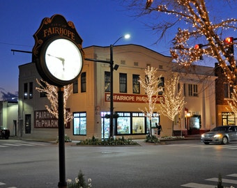 Fairhope Clock Downtown Pharmacy Alabama Night Photo