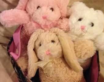 Plush Bunny, Baby Shower Bunny, Personalized Bunny, Plush Rabbit, Baby Shower Rabbit, 9 inch Bunny, Pink Bunny, Tan Bunny, White Bunny
