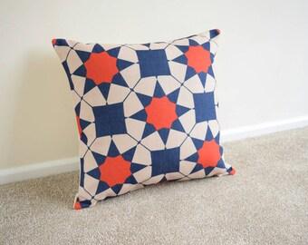 "1 x Blue/Red Morrocan Kilim Aztec Geometric Cotton Linen Cushion/pillow Cover 18x18"""