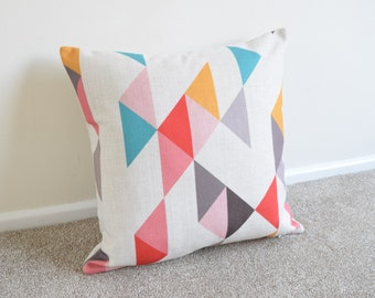 Multi Coloured Geometric/Scandinavian Cotton Linen Cushion/Pillow Cover in 18 x 18""
