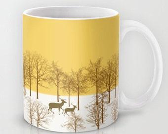Deer in the snowy countryside mug-Wild animal yellow mug-Cool Mug-Gift for her-Coffee lover gift-Trees mug-Gift for him-Colourful mug