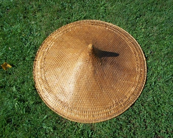 Antique Woven Asian Saipan Farmers Hat, Early 20th Century in Near Mint Condition