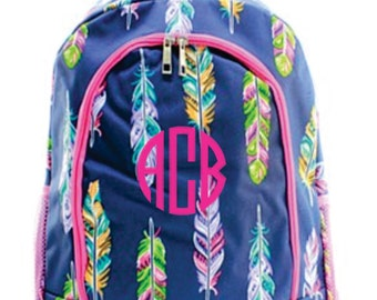 Monogram Colorful Feather Bacpack with Pink Trim