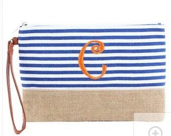 Burlap bottom Cosmetic/Makeup Bag Blue White Striped