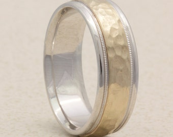 8mm Two Tone, Center Hammered, Brushed Finish, Milgrain Edge, Comfort Fit Wedding Band, Rustic, Gold Ring, Yellow Gold ring, White Gold ring