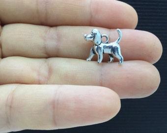 6pcs 3D Poodle Dog Tibetan Silver Charm 15x14mm