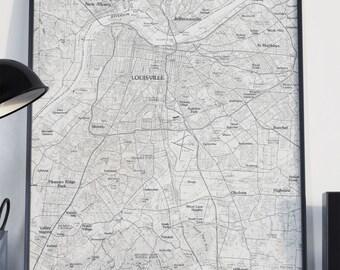 Louisville, KY Map Poster 11x17 18x24