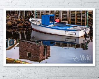 Nautical Photography, fishing boat picture, newfoundland picture, nautical framed art print, boat wall art, matted art prints, petty harbour