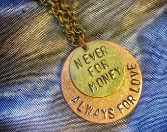"""Talking Heads """"Never For Money, Always For Love"""" layered long necklace"""
