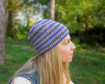 ON SALE: Gray Violet Beanie, Women's Slouchy Beanie, Teens Slouchy hat, Girls Hat, Boys Hat, Teens Beanie, Fall Accessory