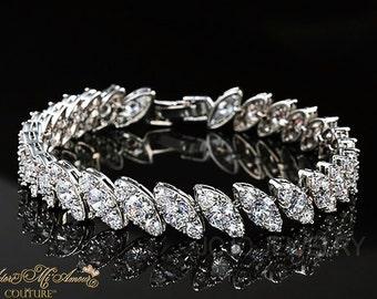 Simulated Diamond Bridal Bracelet ICE DIAMOND EMPRESS, Crystal Bracelet, Cz, Luxury Bridal Jewelry, Wedding Jewelry,Art Deco Bridal bracelet