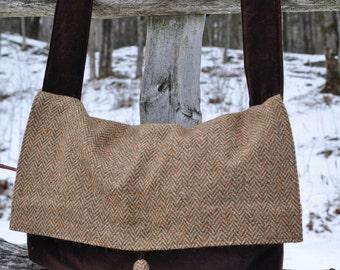Brown/Beige Herringbone Tweed and Brown Velvet Messenger Bag