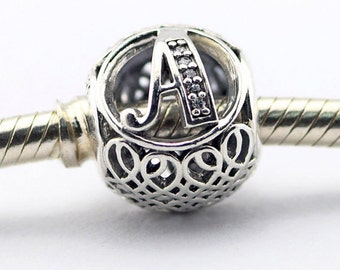 silver charm sterling silver charms beads fits authentic Pandora and European charm bracelets alphabet charms A - Z