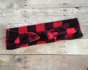 Buffalo Plaid baby Knot Headband, Red Flannel Baby Girl Headwrap, Baby Turban, Top Knot Headband, Lumberjack head wrap, Baby shower gift
