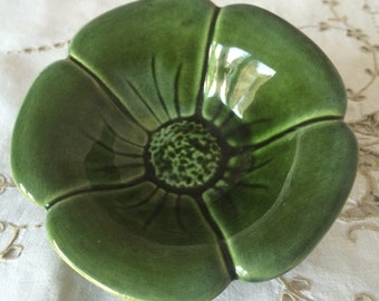 Vintage Vallauris Green Flower, Ceramic Trinket Dish. Made in France