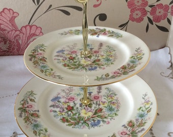 Aynsley WILD TUDOR Fine Bone China 2 Tier English Cake Stand