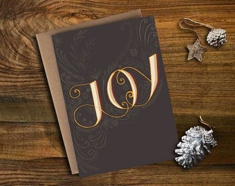 "Christmas/Holiday card - ""Joy"" hand-lettered"