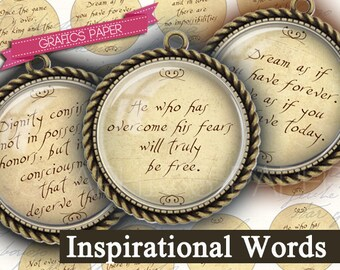 """Inspirational Words and Sayings, Digital Collage Sheet 1 inch Circles, 1.5"""", 1.25"""", 30mm Circle Images, Round for pendant - td44"""