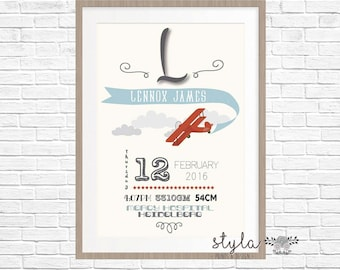 Personalised Birth Stat Print- Vintage Plane Aeroplane  (Digital Or Printed)