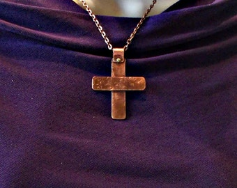 Hammered copper cross