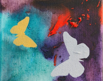 Original Butterfly Painting in Turquoise Purple and Red Acrylic 6x6 Canvas