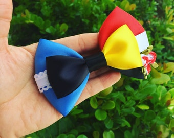 Alice vs Queen of hearts inspired hairbow