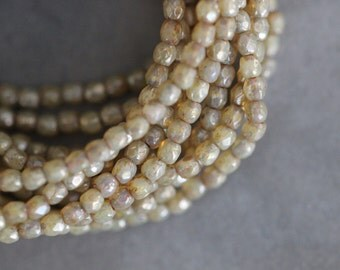 3mm (50) Champagne, Faceted Round, Czech Glass, Beads, Seed Beads, 50 pieces, Stone Creek