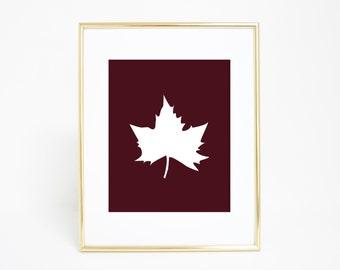 Leaf Print, Fall Leaves, Canadian Leaf, Fall Leaf Prints, Maple Leaf Print, Maple Leaves, Printable Art, Leaf Printables, Digital Prints