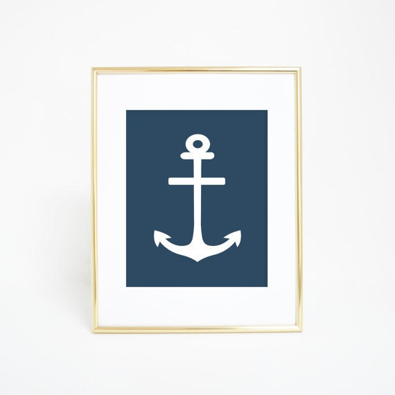 Nautical Decor, Navy Anchor Print, Nautical Art Print, Navy Blue Print, Nautical Navy Print, Nautical Prints, Nautical Decor, Anchor Print