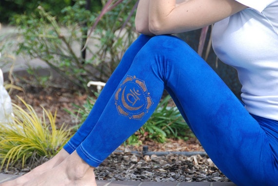 Blue Yoga Leggings Hand Dyed from The ArtiZan Collection with Optional Hand Painted Design by Splash Dye Activewear