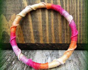 Hemp Wrapped Bangle - Macrame Orange, Pink, Yellow, Purple, Red Hemp Bracelet Cuff
