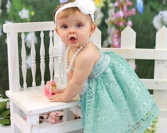 Boutique Formals Dress Photo Prop Aqua Crochet