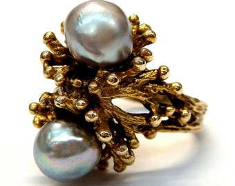 14k Yellow Gold Grey Natural Pearls Unique Design Ring # 252331456295