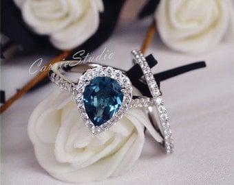 7*9mm Natural London Blue Topaz Ring Set Engagement Ring Set Wedding Ring Set 925 Sterling Silver Ring Anniversary Ring Set